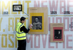 Staff and students turn construction hoardings into a gallery.