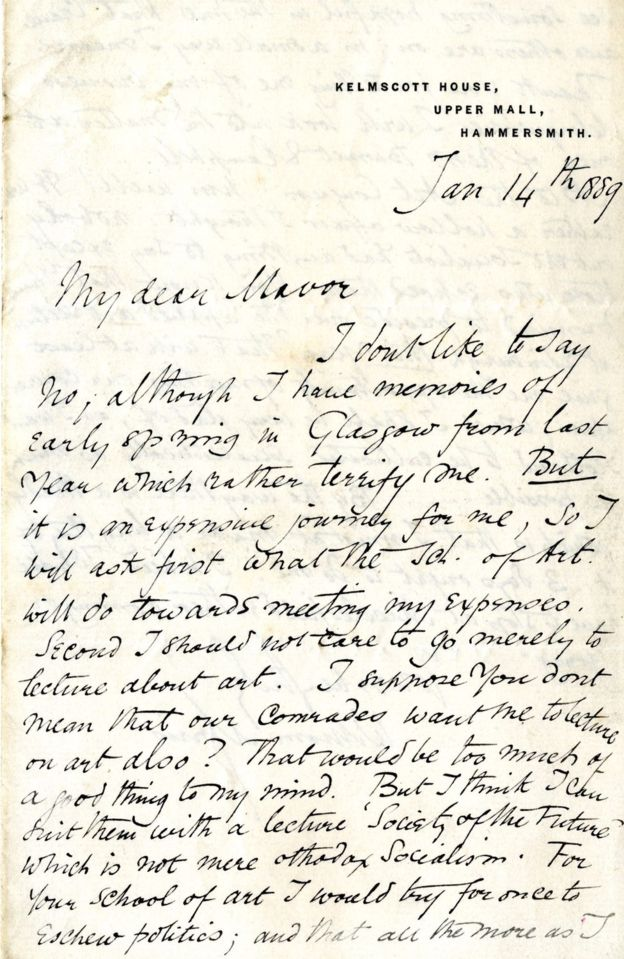 Image: Letter from William Morris 1889, GSA Archives