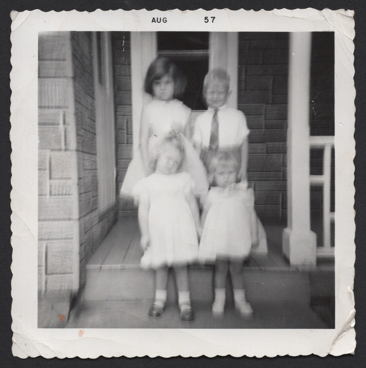 'It's our parents who didn't see us', August 1957, Olive Wallace, inherited family snapshot from the Wallace family archive