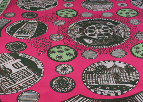Alice Dansey-Wright pink souvenir scarf close up
