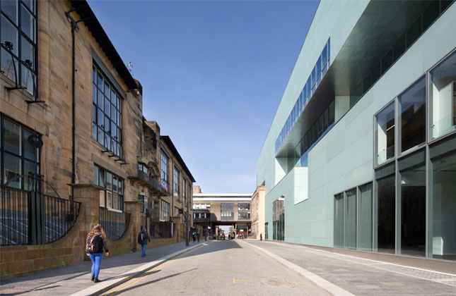 The Mackintosh building and the Steven Holl designed Reid building at GSA